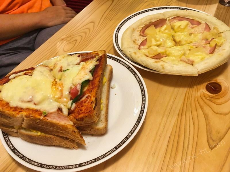珈琲店沖縄糸満のたっぷりたまごのピザトーストとトロピカルピザ